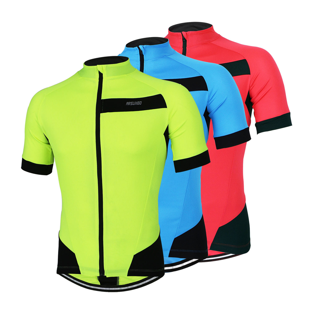 ARSUXEO Reflective Men 39 s Cycling Jersey Short Sleeve Summer MTB Downhill Mountain Bike Bicycle Clothing with Back Zipper Pocket in Cycling Jerseys from Sports amp Entertainment