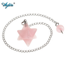 Ayliss Natural Small Merkaba Pink Crystal Pendulum Reiki Healing Point Charm Gems Bead Lucky Dowsing Pendant For Necklace Women