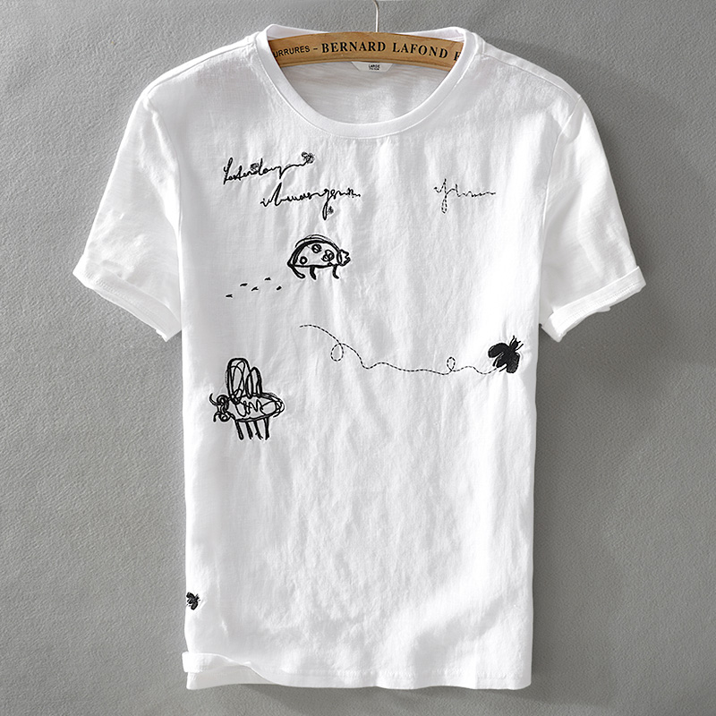 Summer cool new linen short-sleeved t-shirt exquisite trend male loose embroidery pattern stitching t shirt camisetas hombre