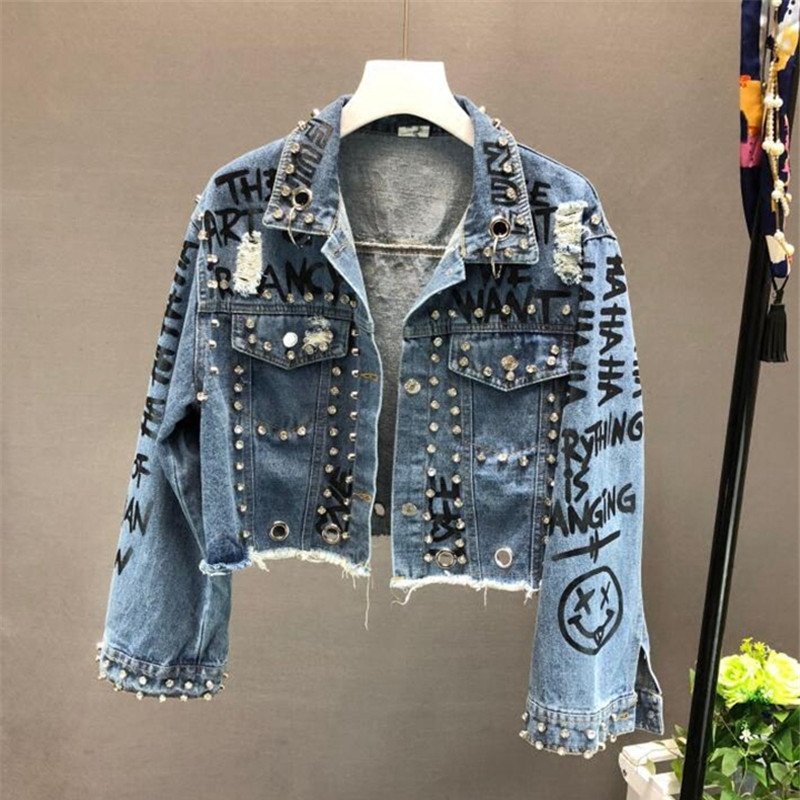 2019 New Fashion Beading Diamond Graffiti Printed Short Design Denim Jacket Coat Casual Women Cowboy Jeans Coats Outerwear R773