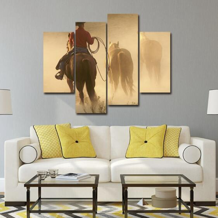 4pcs Wall Decor Canvas Paintings Cowboy with Horses Wall Decorations ...