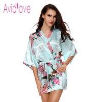 Avidlove Chinese Style Printed Faux Silk Satin Short Kimono Sleepwear Elegant Robe Nightgown For Women Sexy