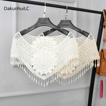 2019 New Style Women s Sweet White Hollow Crochet Lace Tassels Knit Wide Collar Cape Shawl