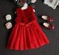 Sally 2-10Y novo 2016 outono inverno quente da pele do falso patchwork colete vestido meninas bonitas vestido de festa para crianças roupas de inverno quente