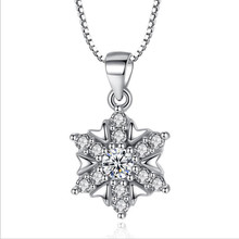TJP New Arrival Female Silver 925 Pendants Necklace Jewelry Fashion Girl Snowflake Crystal Choker Party Accessories Hot