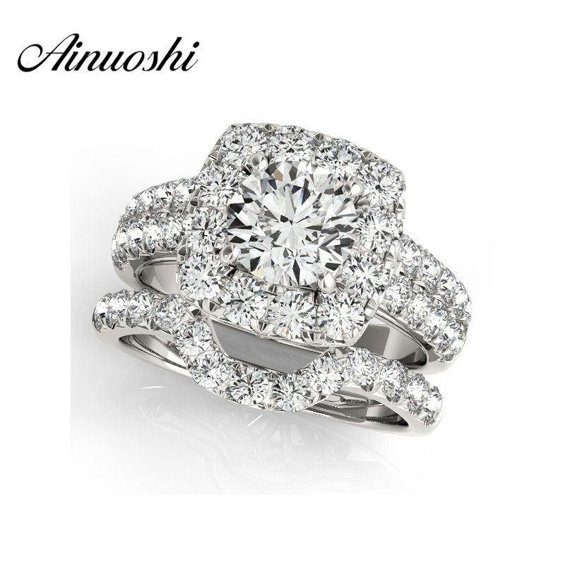 AINUOSHI 925 Sterling Silver White Gold Color Lady Wedding Ring Sets 1ct Round Cut 4 Prongs