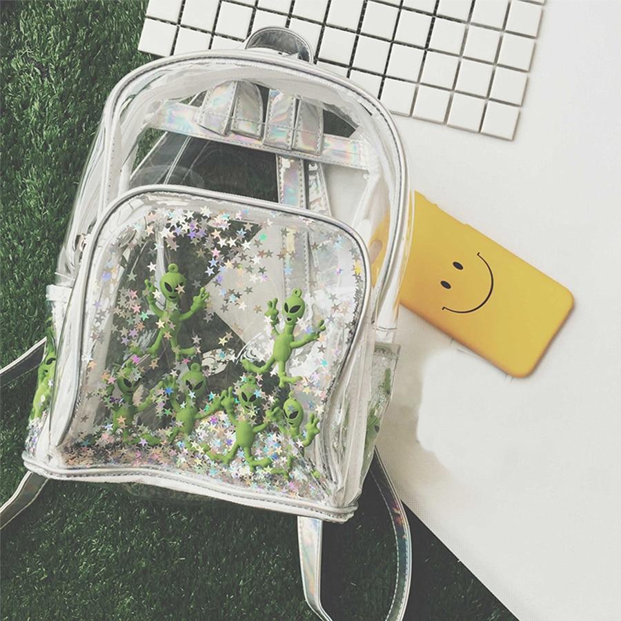 Chic Waterproof Clear Backpack Alien Star Backpack Cute Perspective Laser Bag Harajuku Style Girls Schoolbag Beach Bag