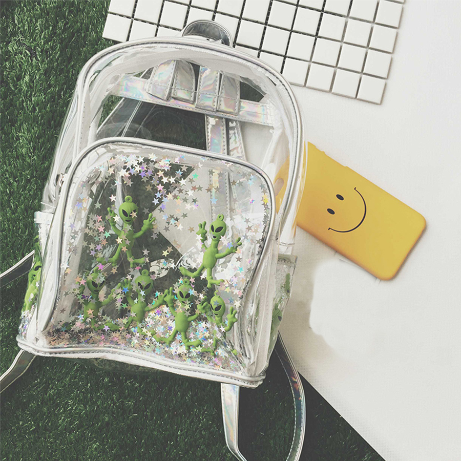 Chic Waterproof Clear Women Backpack Star Alien Backpack Cute Laser Bag Harajuku Schoolbag For Teen Girls Casual Beach Bag