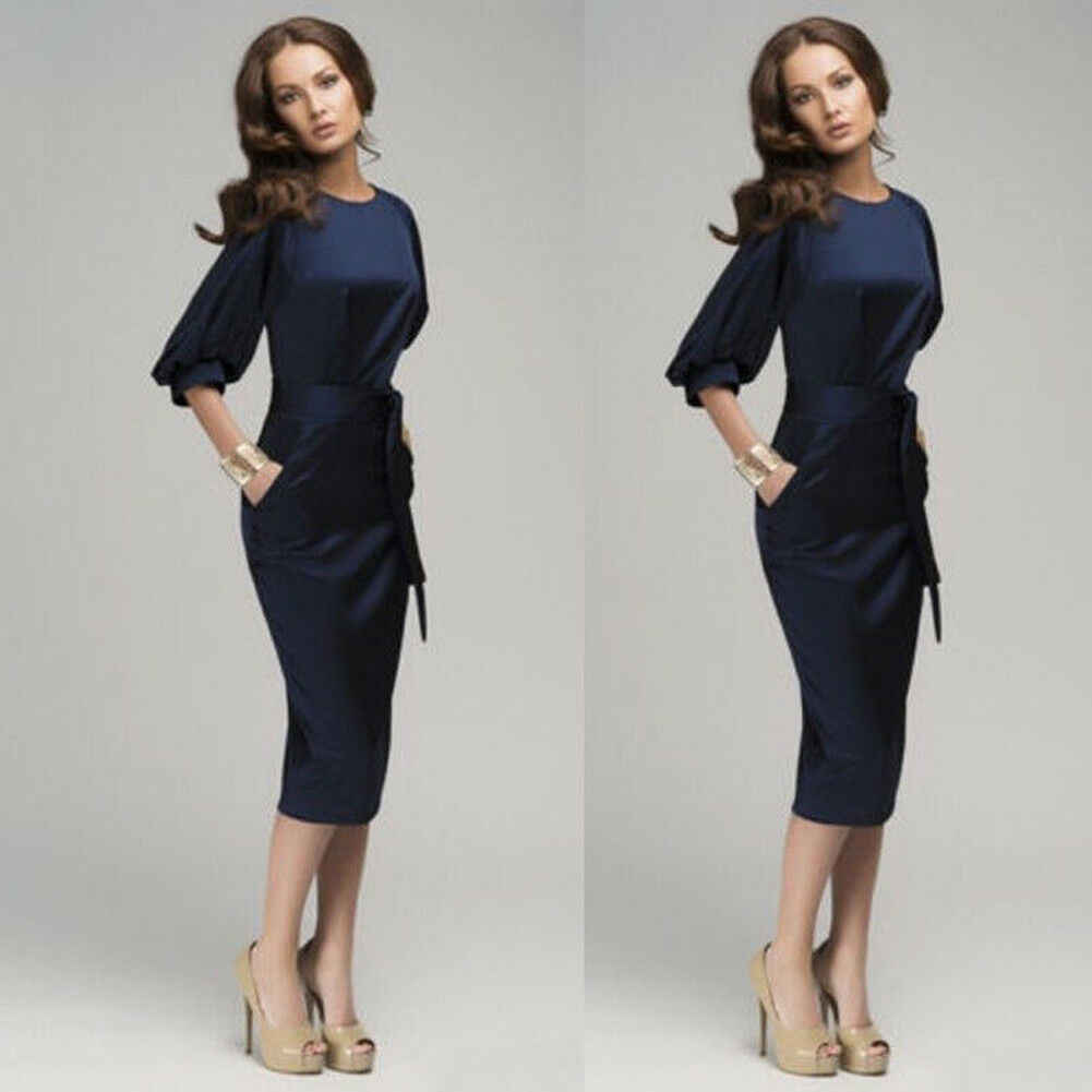 Модные элегантные женские работы Карьера Bodycon Карандаш платье Половина рукава Синий Офис Бизнес вечерние платья Одежда для коктейльной вечеринки