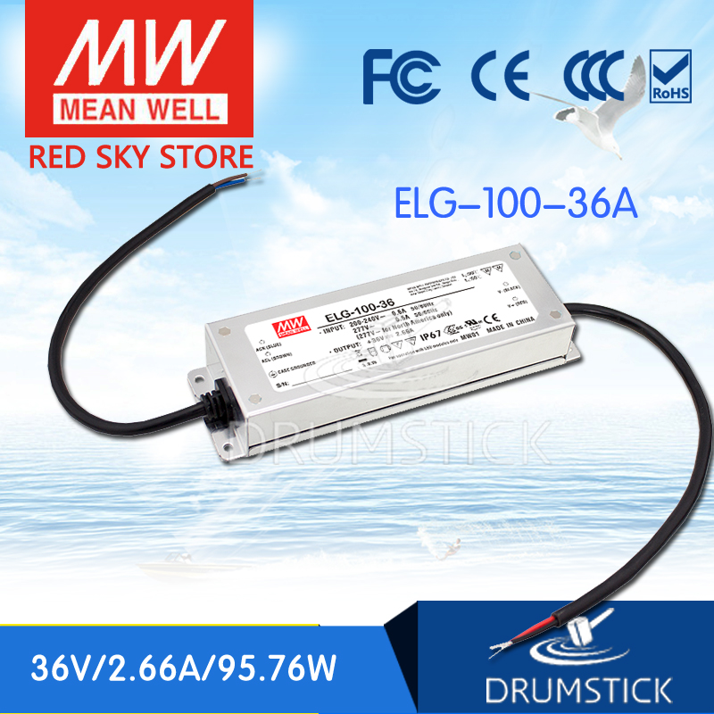 100% Original MEAN WELL ELG-100-36A 36V 2.66A ELG-100 95.76W Single Output LED Driver Power Supply A type [Real6] 100