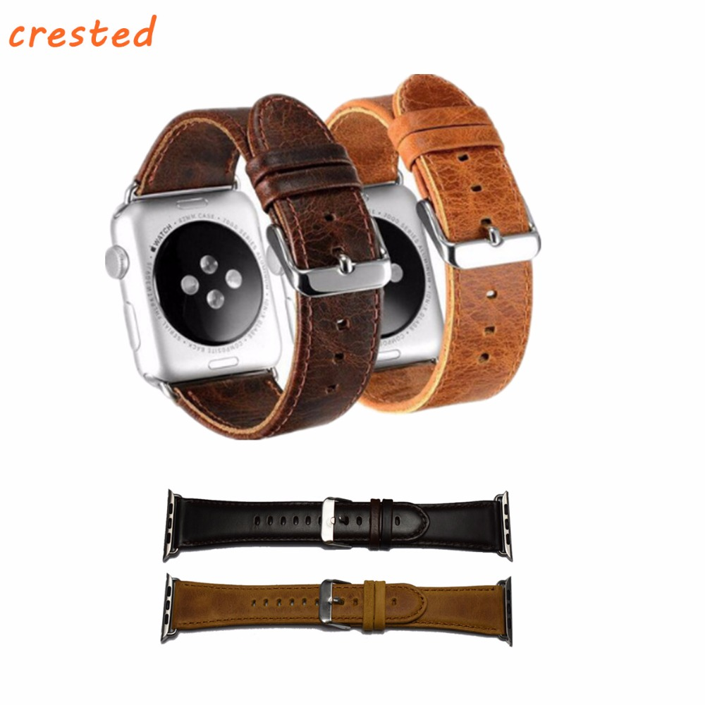 CRESTED genuine leather strap For Apple Watch band 42mm 38mm crazy horse wrist bands straps + classic metal clasp watchband belt