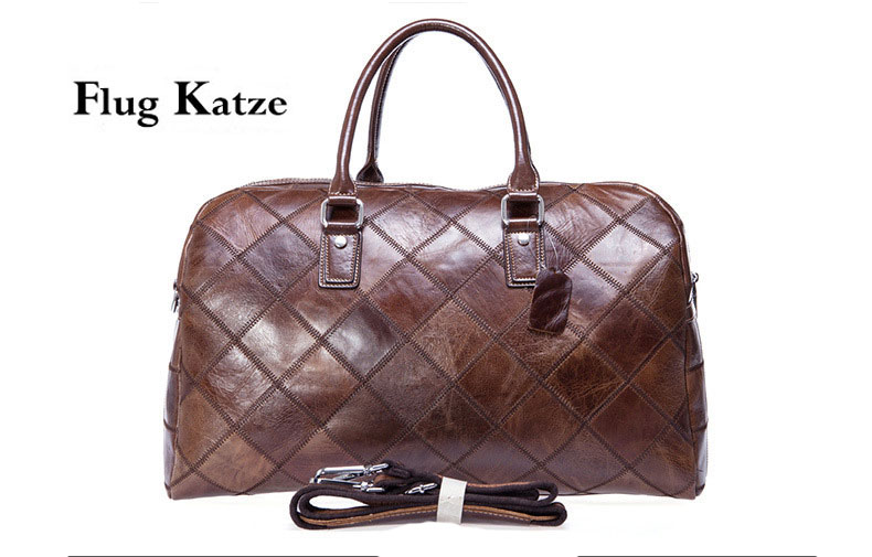 Flug katze Large Vintage Retro Look Genuine Leather Duffle Bag Weekend Bag Men