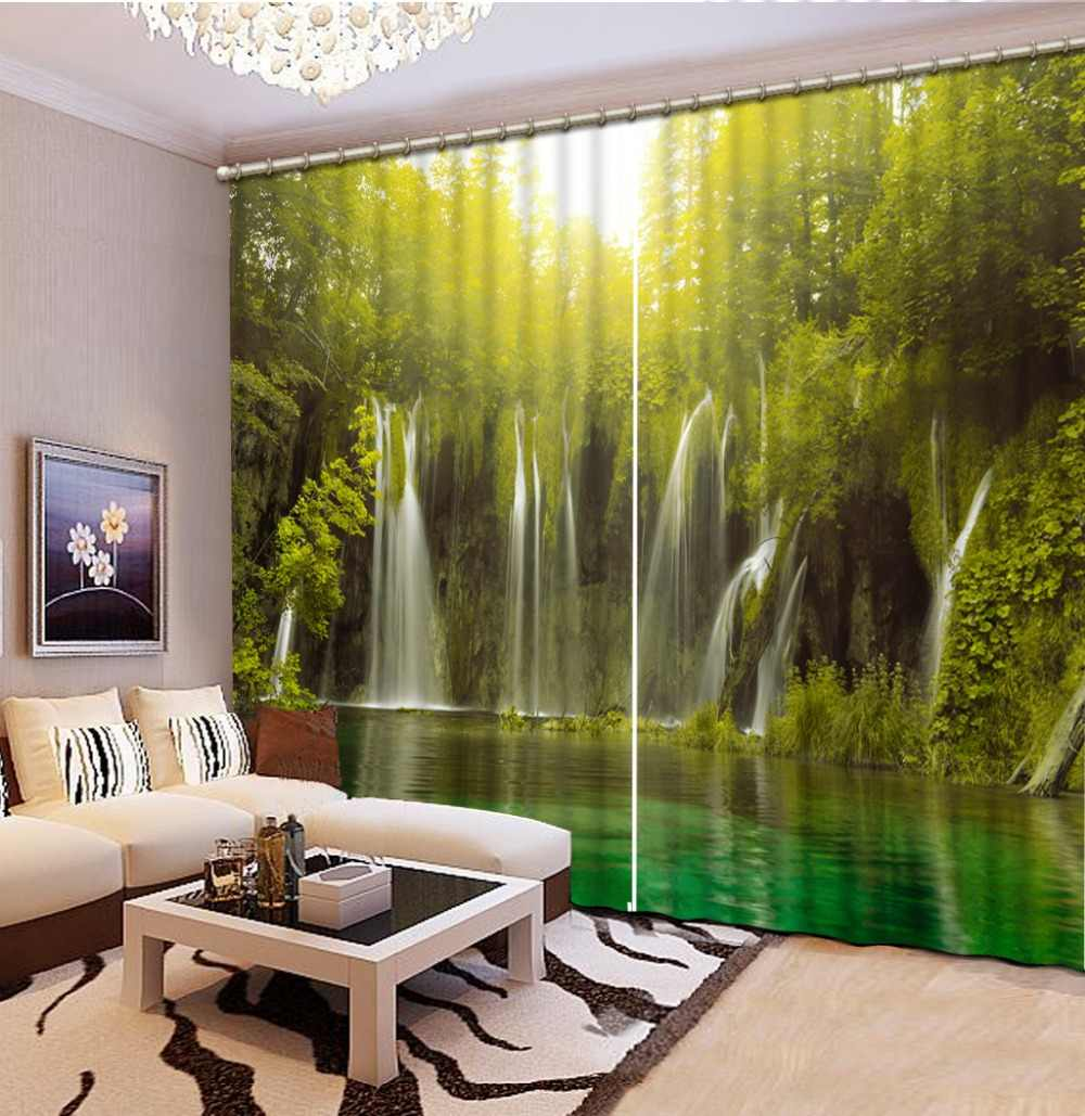 custom 3d curtains Waterfall landscape 3d curtains for living room curtains for the kitchen modern vestido branco