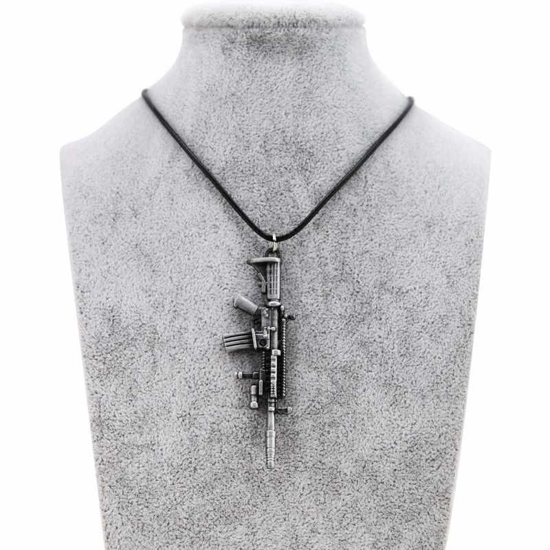 Moda nowy CS GO skórzany łańcuch pistolet wisiorek naszyjnik dla mężczyzn Counter Strike w stylu Vintage złoty pistolety Choker naszyjnik biżuteria męska prezent
