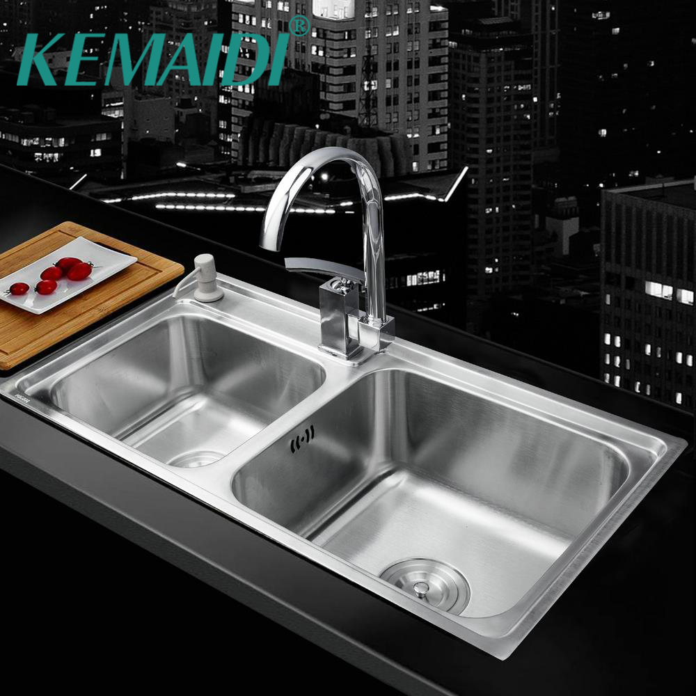 KEMAIDI Kitchen Stainless Steel Sink Vessel Kitchen Double Bowl +Swivel Vanity Faucet + Liquid Soap Dispenser Kitchen MixerKEMAIDI Kitchen Stainless Steel Sink Vessel Kitchen Double Bowl +Swivel Vanity Faucet + Liquid Soap Dispenser Kitchen Mixer