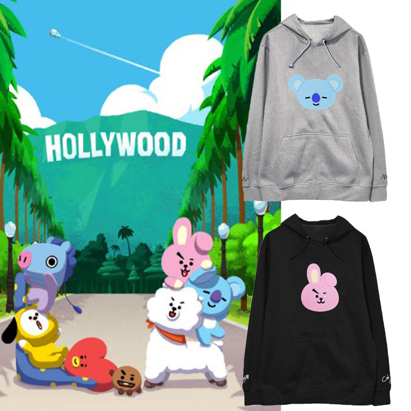 kpop BTS cartoon Bangtan Boys same paragraph sweater female autumn and winter plus velve ...