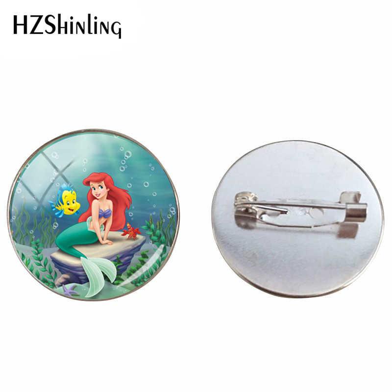 2019 Baru Yang Indah Putri Duyung Ariel Dicetak Bros Perhiasan Putri Duyung Kecil Kaca Cabochon Bros Pin Hadiah untuk Teman-teman