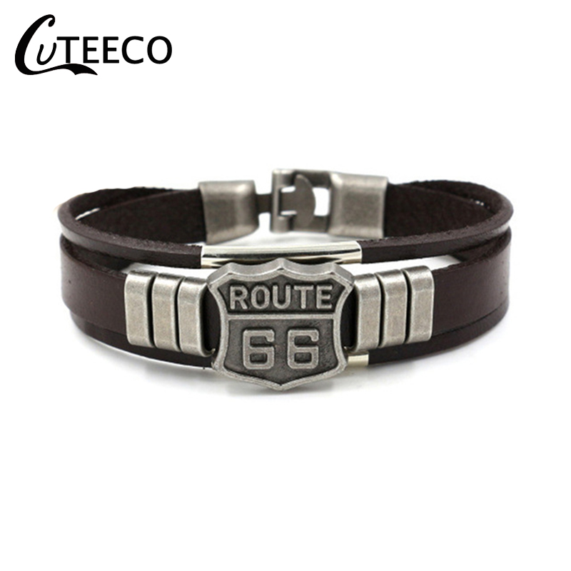 CUTEECO Vintage Men Women Unisex US Route 66 Badge Multi Thong Braided Thin Leather Bracelet Male Best Friend Jewelry Gift image