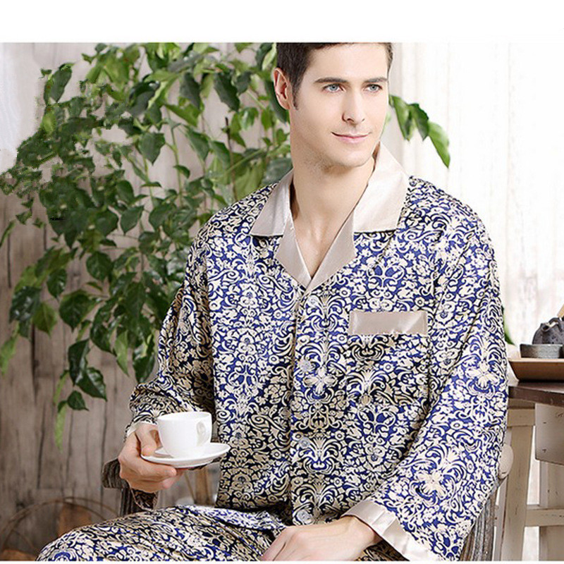 Pajamas Men Silk Pajamas For Men Soft And Cozy Long-sleeved Tops + Trousers Two Pieces Sleepwear Home Clothes Mens Pajama Set