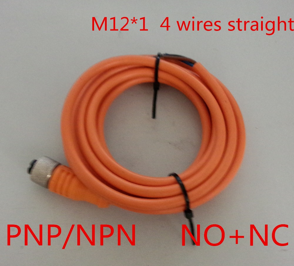 small resolution of free shipping 5m m12 1 4 wires 4 pin npn pnp