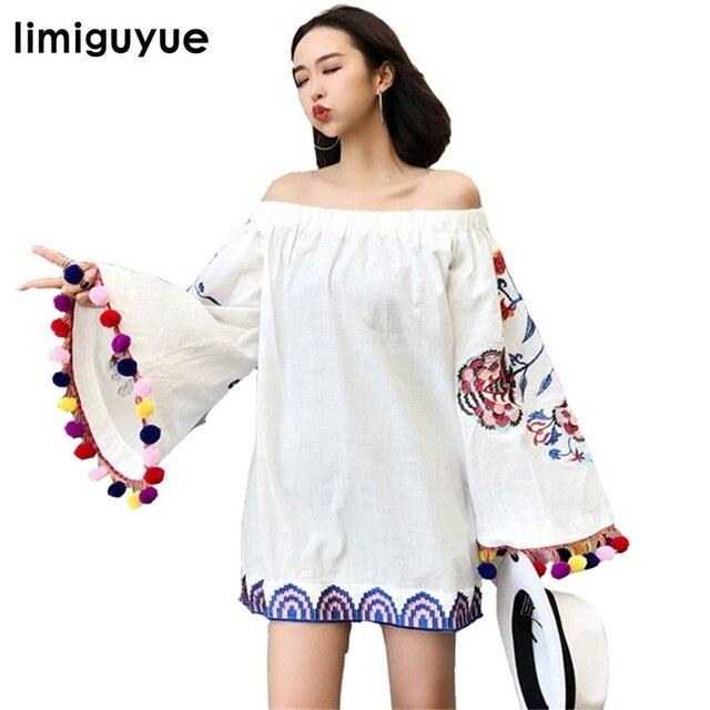 c0e14b2ddf Limiguyue borla preto branco vestido bordado mexicano femme vestidos tassel  curto verão vestidos hippie boho chique