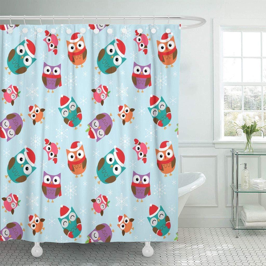Kain Shower Tirai Dengan Kait Syal Merah Natal Pola Dengan