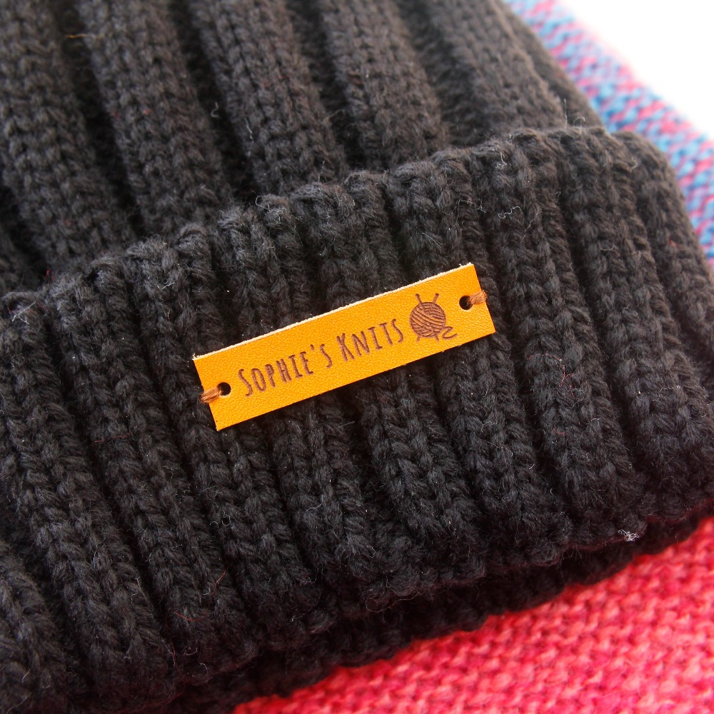 Leather Tags, Personalized Leather Labels, Custom Clothing Labels, Knitting Tags,  32 Pc (PB078)