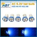 Frete grátis 100 pcs AC DC6.3V #1893 #44 #47 #756 #1847 BA9S 4SMD LED Cunha nenhum fantasma nenhuma cintilação Pinball Luz Máquina Lâmpada azul
