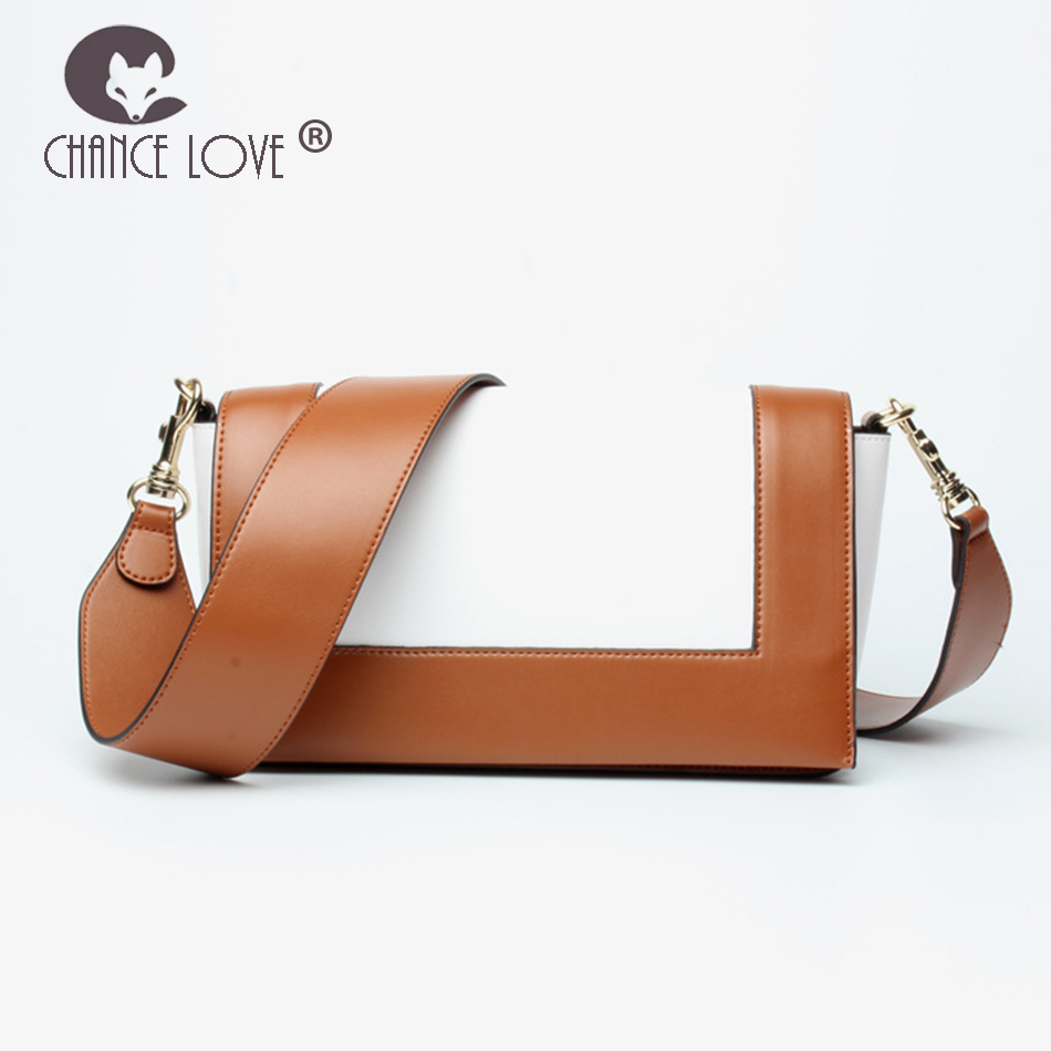 Chance Love 2018 new Genuine leather handbag Two tone Flap bag Fashion shoulder crossbody small women bag Messenger Bags female neverout new crossbody handbag women messenger bag cover small flap bags fashion shoulder bags simply style genuine leather bag