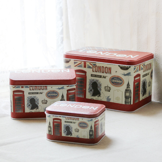 Three Piece Rectangle Storage Box Set Candy Biscuit Tin Box Snack