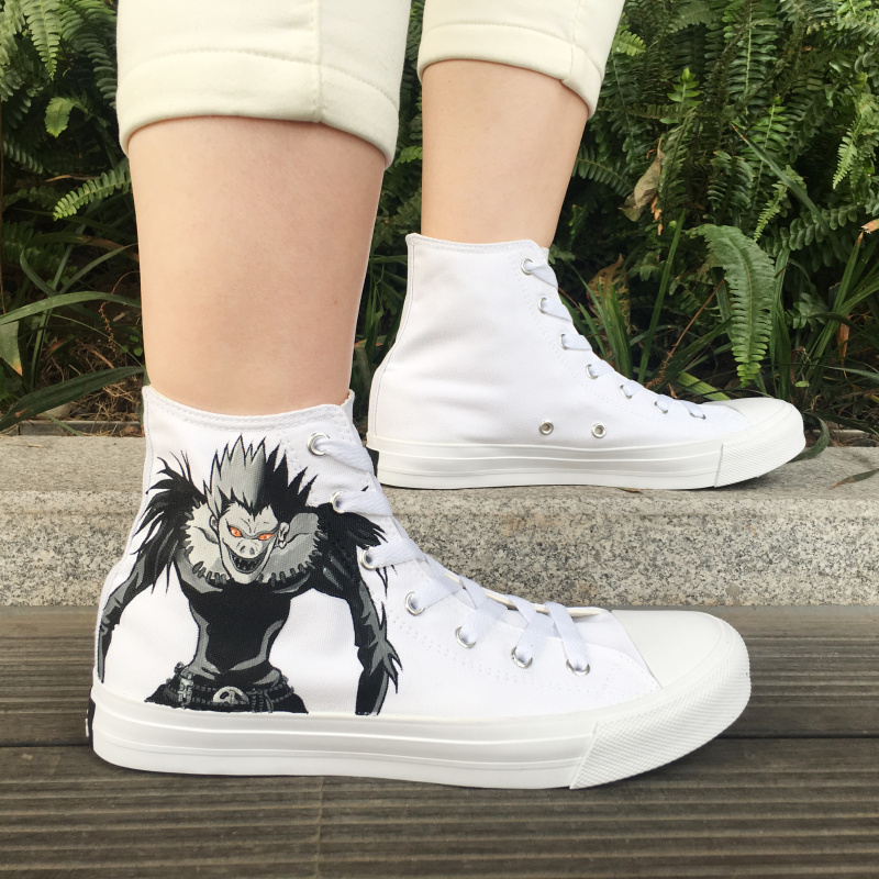 Wen Mens Womens Platform Sneakers Hand Painted Shoes Death Note Ryuuku Rem Anime Painting Sewing Canvas High Tops Big Size 46-49