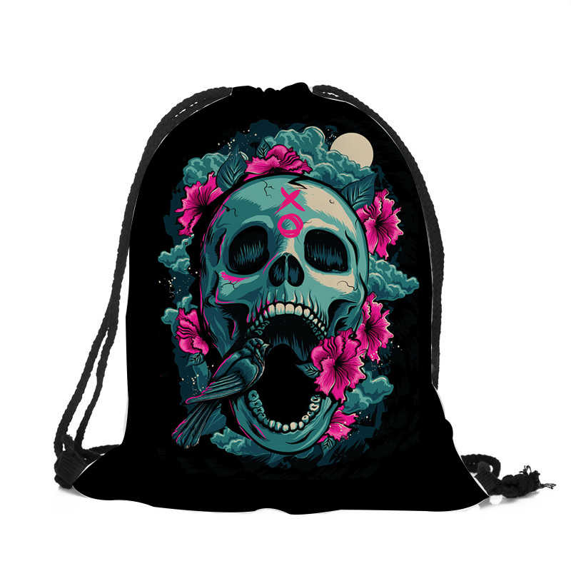 ... Punk Women Drawstring Bags Backpack Halloween Skull Print Newest  Vintage College Students School Bagpack Girls Feminina