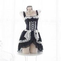 Lolita Sweet Gothic Dress Cute Anime Maid Costumes Lingerie Chiffon Ruffle Bikini Set for Women Sexy Lingerie Uniform Temptation
