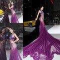 2016 Promoção Sexy Ver Embora sheer Hot Sereia Pageant vestido Com Decote Em V Pesado Jóias De Cristal Tule vestido de Baile Roxo para mulheres