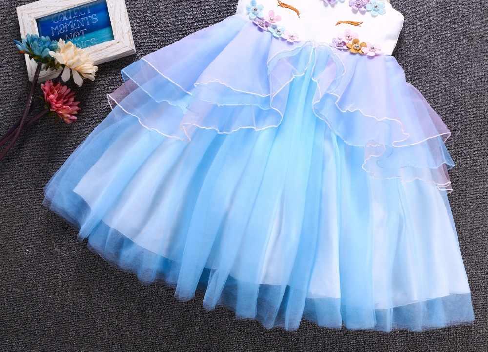 79744204eeb ... Необычные детские Единорог Платье с фатиновой юбкой для девочек вышитая  бальное платье детские для девочек в