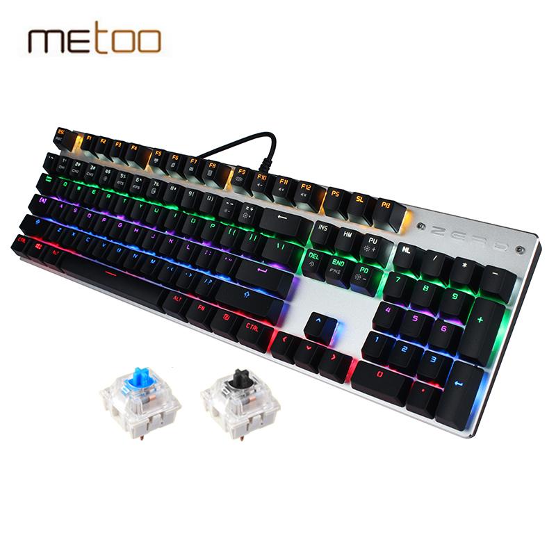 Prix pour Metoo Filaire Mécanique Clavier 87/104 Touches Réel Bleu Commutateur Gaming LED Rétro-Éclairé Anti-Ghosting pour Gamer Clavier D'ordinateur