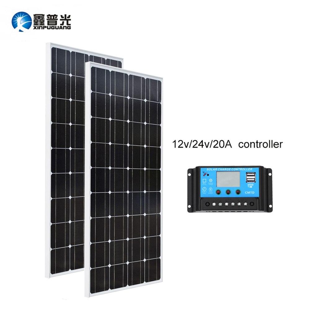 Xinpuguang 100 w * 2 Solare Galss Pannello In Silicio Monocristallino 20A Controller 18 v 1175*530*25mm di Carica della batteria RU Magazzino Dimensioni Della Cina