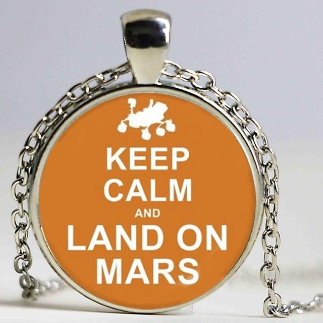 keep calm land on mars jewelry pendant necklace winter choker glass rh aliexpress com