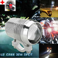 Super Bright 30W U2 LED Headlight Spotlight Driving Fog Safety Head Light Spot Night Lamp For All Motorcycle + Switch