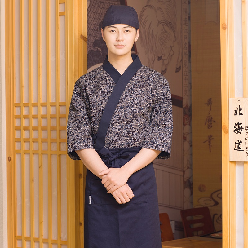 10 Sets (shirt & Hat & Apron)Japanese Restaurant Chef Work Clothes Japan Style Clothing Men's Seven Points Sleeves  M L XL