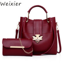 WEIXIER Designer Crossbody Bags 2 pcs/set Bee Buckle Women Bags Small Leather Shoulder Bag Ladies Tote Bag Pink Handbag LW-03(China)