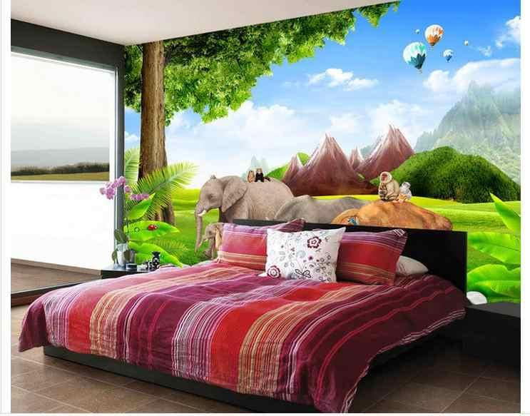 カスタマイズされた 3d 壁紙 3d 壁の壁画壁紙スーパー 3D 緑の草原、木、山、背景リビングルームの壁紙
