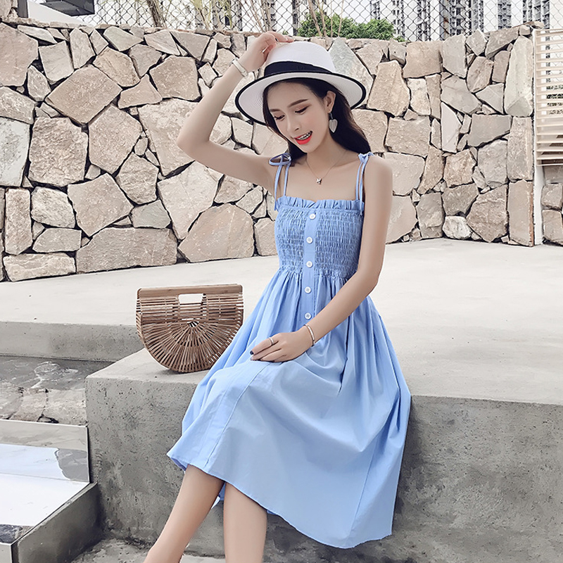 Pregnant Woman Dress New Fashion Clothing for Pregnant Women Summer Pleating Sling Dresses Mid-length Maternity Clothes