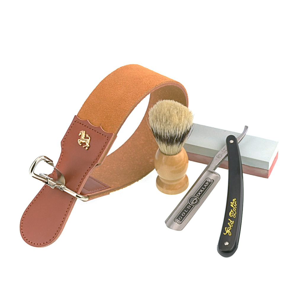 ZY Lurus Razor Shaving Dolar Emas Set pria Bulu Sikat Rambut Kulit Kulit  Pengasah Mengasah Oilstone 3578e4fab3