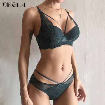 New Green Underwear Set Women Bra Push Up Brassiere Cotton Thick Black Gather Sexy Bra Panties Sets Embroidery Lace Lingerie Set 1