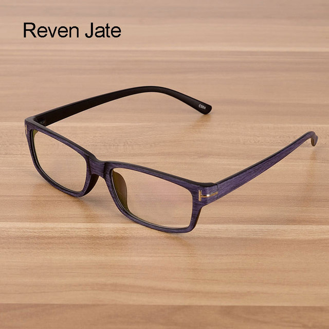 Reven Jate Men and Women Unisex Wooden Pattern Fashion Retro Optical Spectacles Eyeglasses High Quality Glasses Frame Eyewear