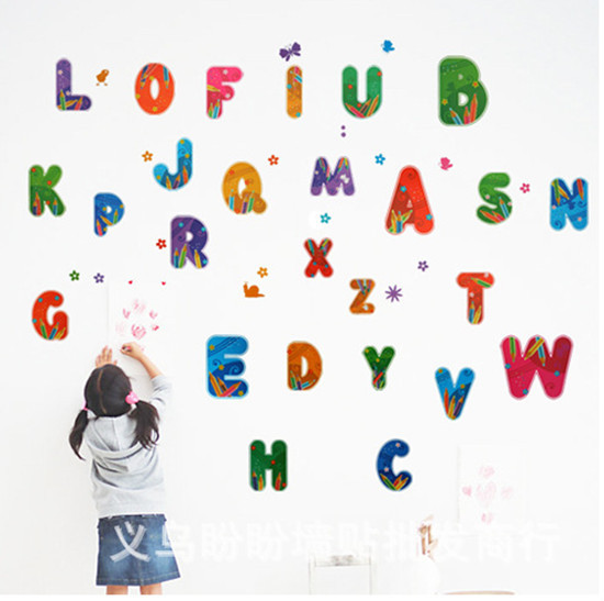1set colorful 26pieces alphabet letter vinyl pvc removable decal home decor for kids room nursery wall