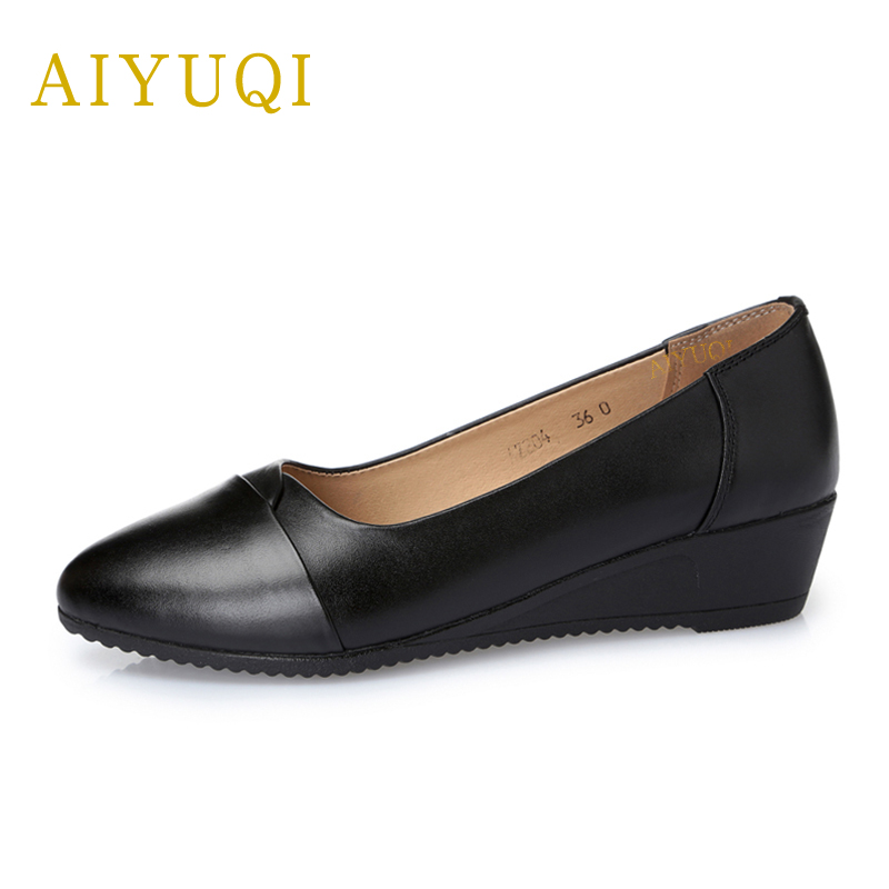 AIYUQI 2018 spring new genuine leather women shoes comfortable breathable plus size 41#42#43# mother single shoes female aiyuqi plus size 41 42 43 women s flat shoes 2018 spring new genuine leather women shoes soft surface mom shoes women