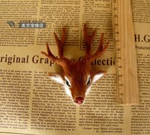mini simulation deer head toy resin&fur small deer head home decoration gift about 10x8x7cm