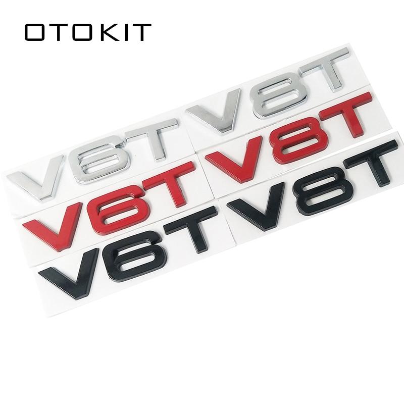Car Styling 3D Metal V6T V8T V6 V8 T Fender Side Body Emblem Tail Trunk Fender Badge Sticker For Audi A4 A3 A5 A6 A1 Q3 Q5 Q7